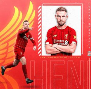 Liverpool captain, Jordan Henderson wins Footballer of the Year award